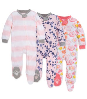 Rose Floral Organic Baby Zip Front Loose Fit Footed Pajamas 3 Pack