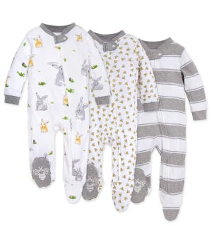 Bunny Trail Organic Baby Zip Front Loose Fit Footed Pajamas 3 Pack