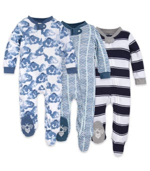 Moonlight Clouds Organic Baby Zip Front Loose Fit Footed Pajamas 3 Pack