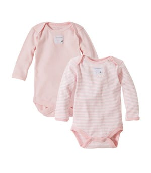 Bee Essentials Set of 2 Long Sleeve Organic Cotton Bodysuits