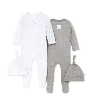Solid Organic Baby Footie Jumpsuit & Hat Sets 2 Pack Heather Grey 0-3 Months
