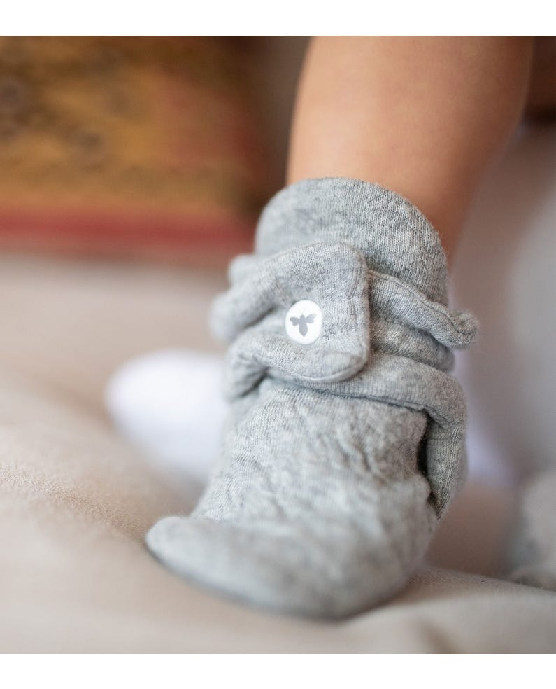Quilted Bee Grey Organic Baby Booties
