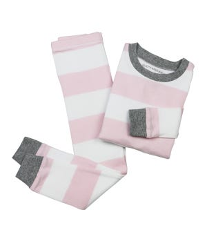 Rugby Stripe Organic Baby Pajamas - Blossom - 12 Months