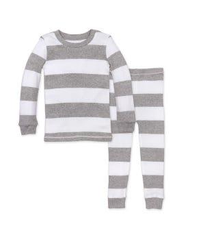 Rugby Stripe Organic Baby Pajamas - Heather Grey - 12 Months
