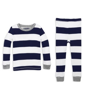 Rugby Stripe Organic Baby Pajamas - Midnight - 12 Months