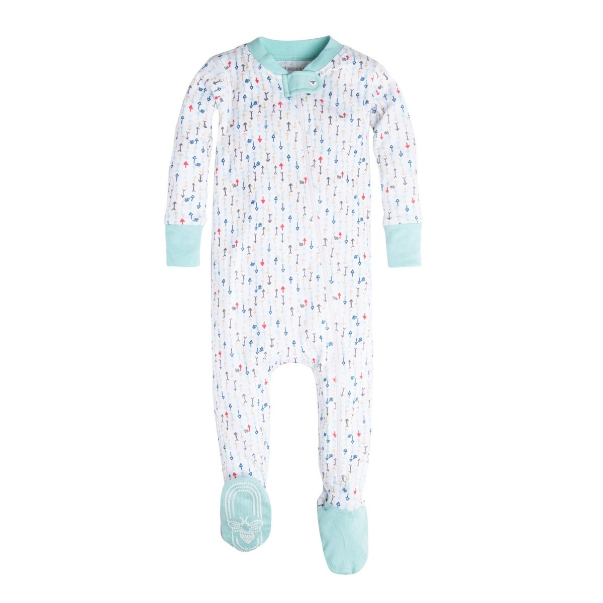 6-9 Months turquoise//white stripe Moon and Back Baby Organic Footed Zip-Front Sleep and Play