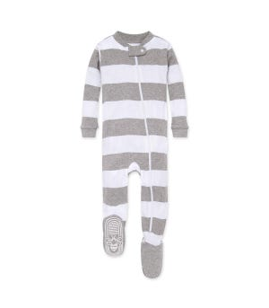 Rugby Stripe Organic Baby Zip Up Footed Pajamas - Heather Grey - 12 Months