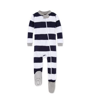 Rugby Stripe Organic Baby Zip Up Footed Pajamas - Midnight - 12 Months