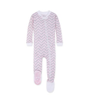 Chevron Bee Organic Baby Zip Up Footed Pajamas - Blossom - 12 Months