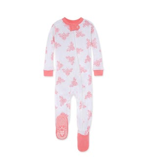 Snuggle Bee Organic Baby Zip Up Footed Pajamas - Lily - 12 Months