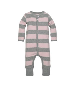 Rugby Stripe Convertible Cuff Organic One Piece Jumpsuit Blossom 0-3 Months