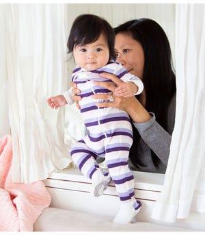 Multi Stripe Organic Baby Zip Front Snug Fit Footed Pajamas