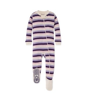 Multi Stripe Organic Baby Zip Up Footed Pajamas Aubergine 12 Months