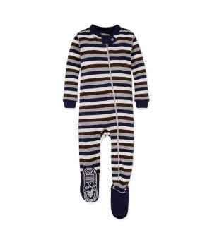 Multi Stripe Organic Baby Zip Up Footed Pajamas Midnight 12 Months