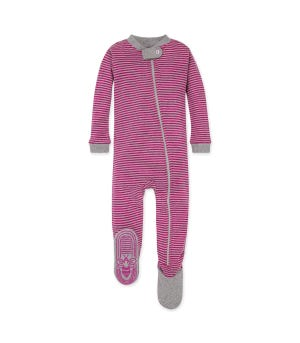 Classic Stripe Organic Baby Zip Front Snug Fit Footed Pajamas