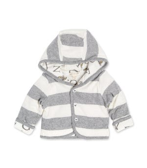 Watercolor A Bee C Reversible Organic Jacket Heather Grey 12 Months