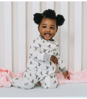 Pine Forest Organic Baby Zip Front Snug Fit Footed Pajamas