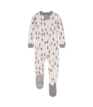Pine Forest Organic Baby Zip Front Snug Fit Footed Pajamas Eggshell 12 Months