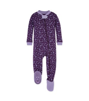 Dusty Dandelion Organic Baby Zip Front Snug Fit Footed Pajamas