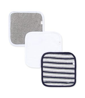 Set of 3 Multi Stripe Organic Washcloths