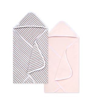 Set of 2 Baby Single Ply Multi Stripe Organic Hooded Towel Blossom