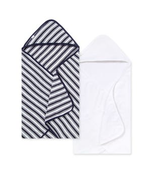 Baby Single Ply Multi Stripe Organic Hooded Towel 2 Pack
