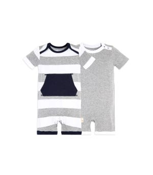 Baby 2 Pack Pocket Organic One Piece Rompers Heather Grey 12 Months