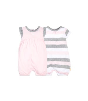 Baby 2 Pack Multi Stripe Organic Bubble Rompers Blossom 12 Months