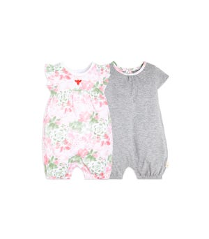 Tossed Succulent Organic Baby Bubble Rompers 2 Pack