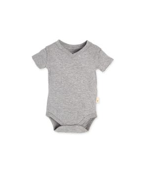 Short Sleeve Reverse Seam V Neck Organic Bodysuit Heather Grey - 12 Months