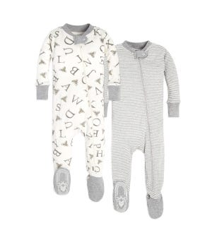 A-Bee-C and Stripes Organic Baby Zip Front Snug Fit Footed Pajamas 2 Pack