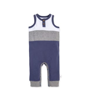Organic Cotton Color blocked Sleeveless Jumpsuit Indigo 3-6 Months