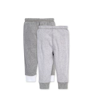 Classic Stripe Organic Baby 2 Pack Footless Pants Heather Grey 12 Months