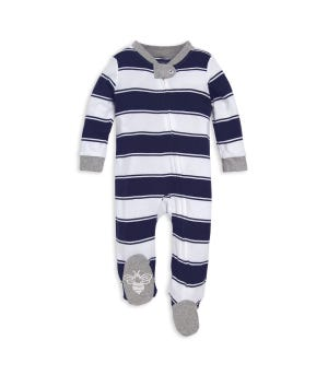 Rugby Stripe Organic Baby Sleep & Play Pajamas Midnight 0-3 Months