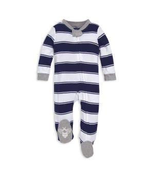 Rugby Stripe Organic Baby Sleep & Play Pajamas Midnight 0-3 Months