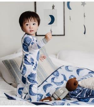Watercolor Hello Moon! Organic Baby Zip Front Footed Pajamas