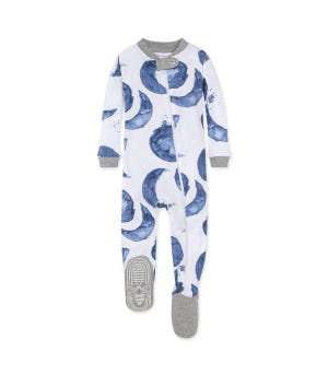 Watercolor Hello Moon! Organic Baby Zip Front Footed Pajamas Indigo 12 Months