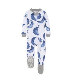 Watercolor Hello Moon! Organic Baby Zip Front Footed Pajamas Indigo 18 Months