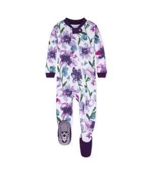 Watercolor Daylily Organic Baby Zip Front Footed Pajamas Aubergine 12 Months