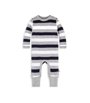 Multi Rugby Stripe Organic Baby Jumpsuit Heather Grey 12 Months
