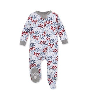 Starry Night Sky Organic Baby Sleep & Play 4th of July Pajamas Heather Grey 3-6 Months
