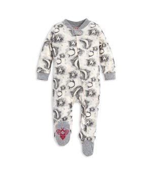 Cloudy Night Organic Baby Zip Front Loose Fit Footed Pajamas