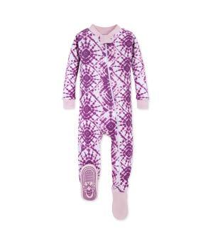 Diamond Tie Dye Organic Baby Zip Up Footed Pajamas