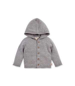 Baby Sweater Knit Organic Cotton  Cardigan Hoodie Heather Grey 3-6 Months