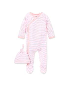Classic Stripe Organic Baby Footed Wrap Front Jumpsuit & Hat Set