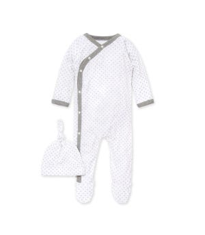 Dottie Bee Organic Baby Footed Wrap Front Jumpsuit & Hat Set