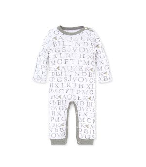 Letter Bees Organic Baby Jumpsuit Heather Grey 12 Months