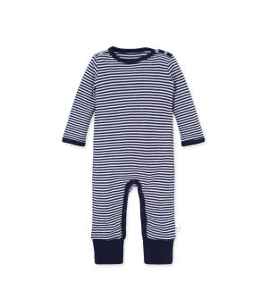 Classic Stripe Organic Baby Convertible Footie Jumpsuit Midnight 12 Months