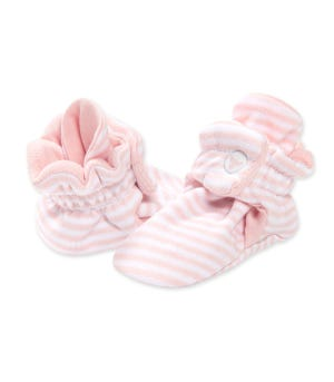 Classic Stripe Adjustable Organic Baby Booties Blossom 0-3 Months