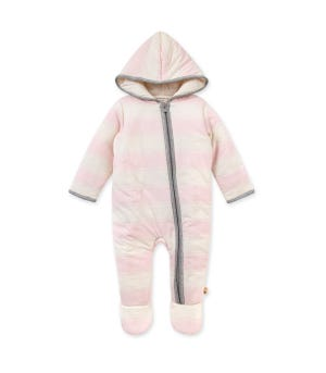 Rugby Peace Stripe  Zip Front Hooded Organic Baby Bunting Blossom Newborn